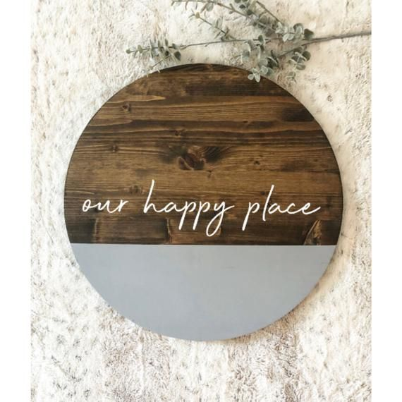 our happy place | wooden circle sign | 18'' circle | front door tag | front porch sign | fall sign |