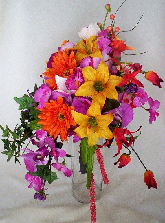 Tropical Orchid Bouquet Cascade fuschia Orchids by AmoreBride, $130.00