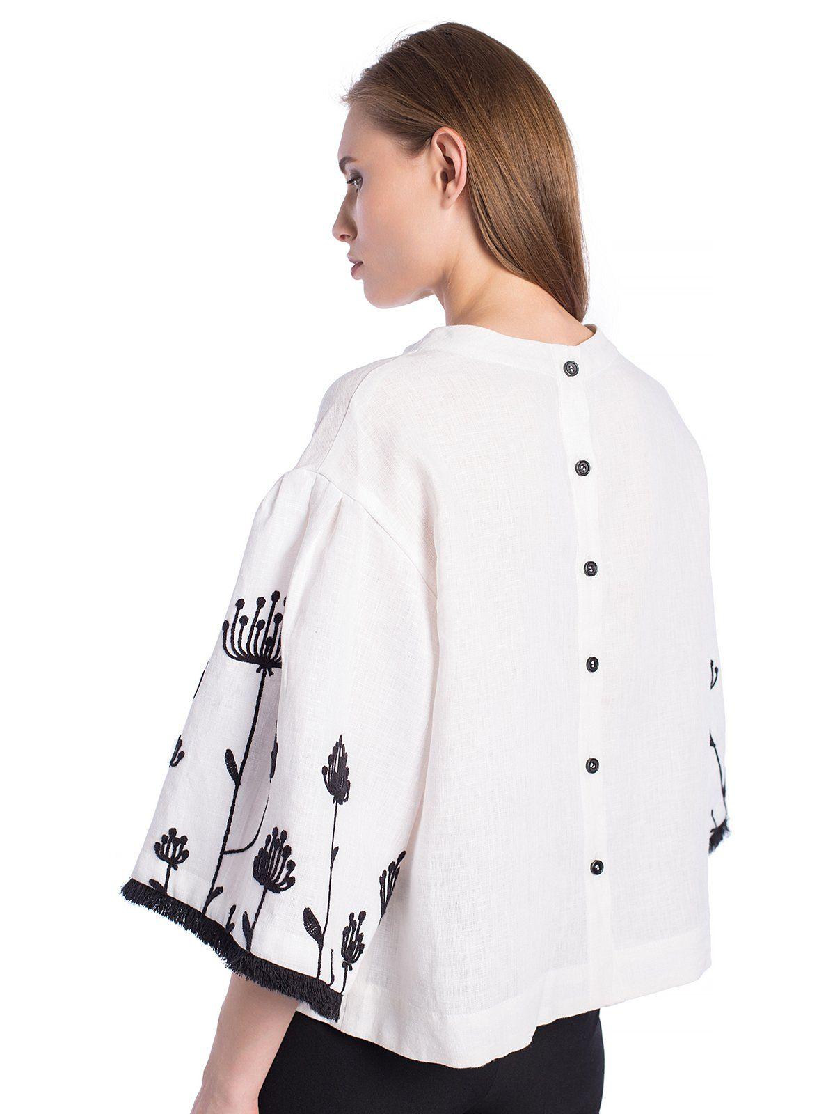 Лляна блузка з вишивкою на рукавах та бахромою Ethnic 6  3b189912ff517