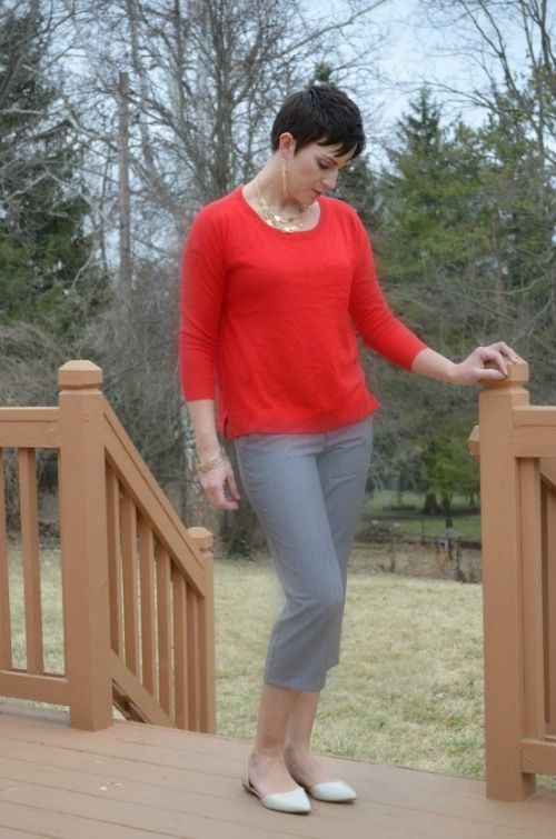 daisy fuentes red sweater cropped grey pants | Kohl's Fashion ...