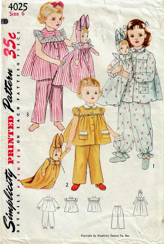 1950s Simplicity 4025 Vintage Sewing Pattern Girls Pajamas, Two ...