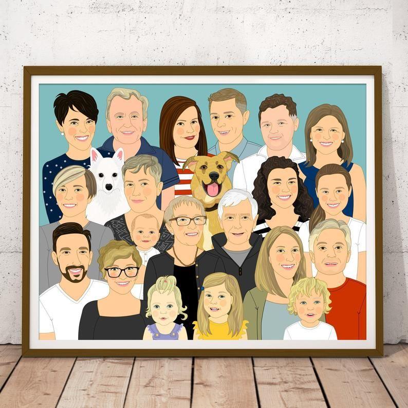 Extended Family Illustration Family Portrait Custom Portrait Of