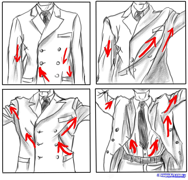 How jackets foldcrease during various movements drawing