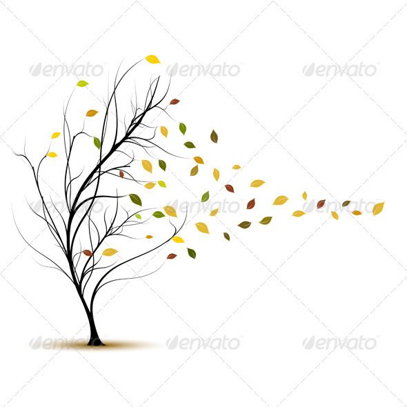 Fall Tree In Autumn With Wind Blowing Vector Autumn Trees Tree Tattoo Vector Trees