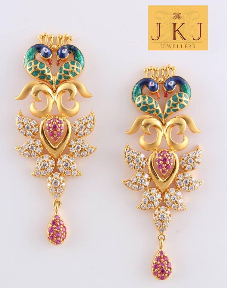 Beautiful gold earrings in peacock style. | ranjana | Pinterest ...