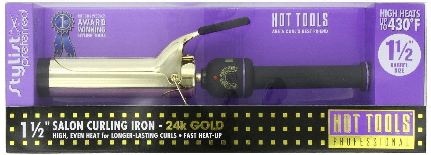9ba57923fd97 Hot Tools Professional 1 1 2   Inch Spring Salon Curling Iron 24K Gold  Surface