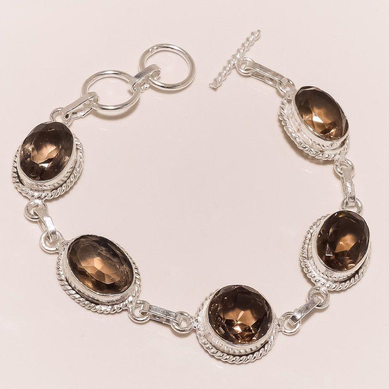 Bracelete banho ródio com quartzo enfumaçado