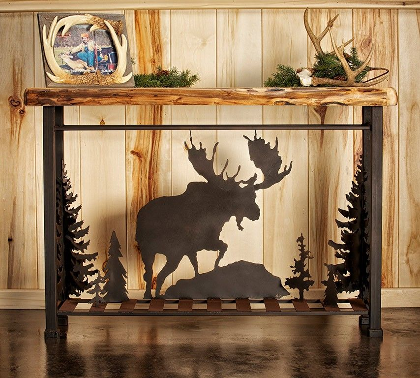 Metal moose scene sofa table sofa tables moose and aspen for Aspen logs for decoration