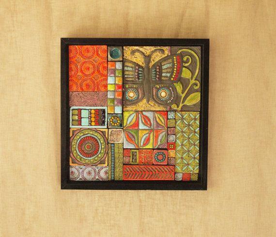Butterfly Patchwork Mosaic Art - Raku Clay Tile Mosaic Wall Art ...