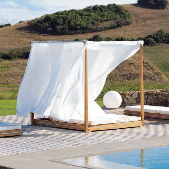 Design3000 essenza double lounger garten himmelbett aus teakholz f r 2 personen balkon - Garten himmelbett ...