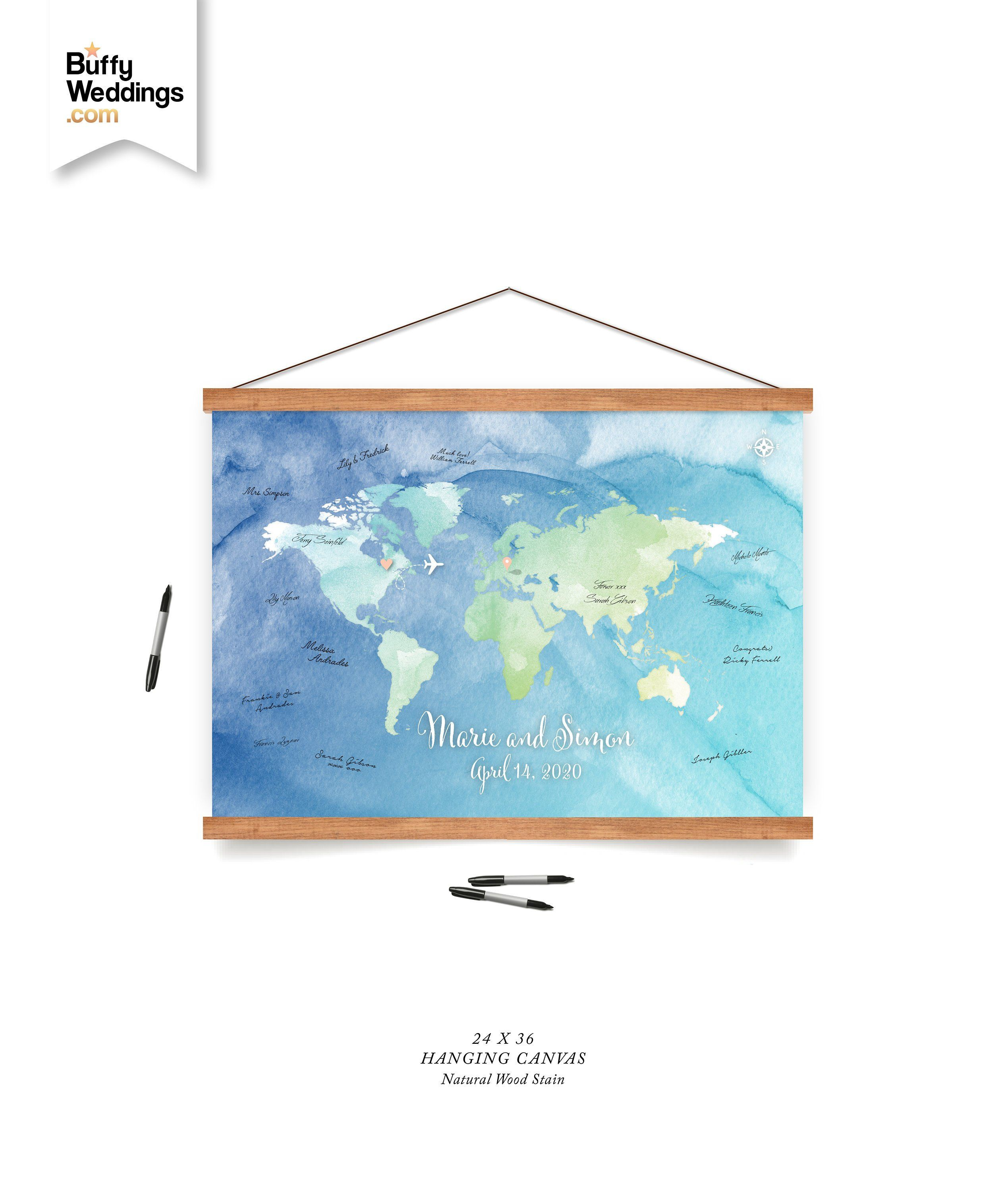 Hanging Canvas Guest Book Watercolor World Map Or Custom State