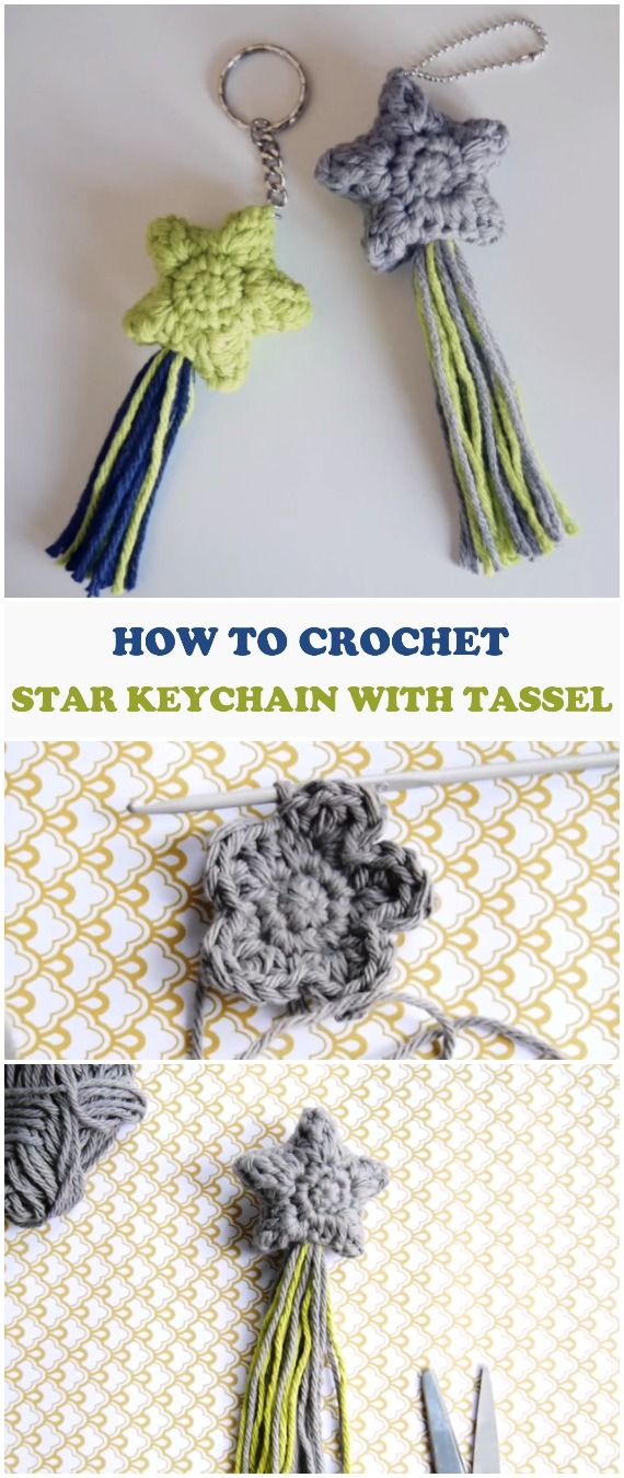 Crochet Star Keychain With Tassel | Accesorios | Pinterest