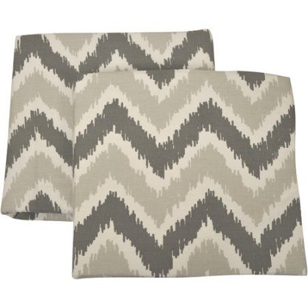 Bacati - Ikat Crib/Toddler Bed Fitted Sheets 100% Cotton Muslin 2 Pack, Zigzag Grey, Gray