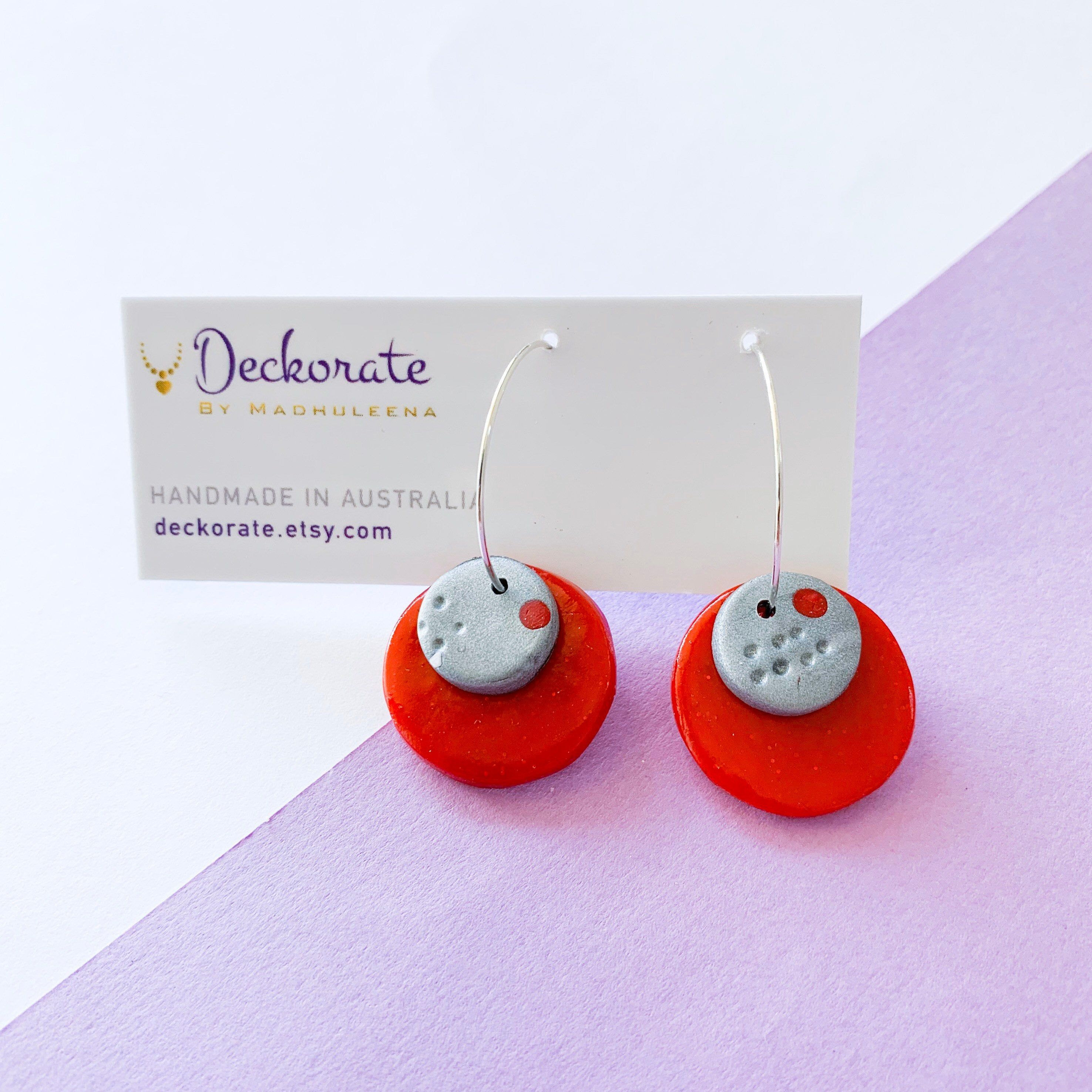 Red clay layered hoop earrings, bright colorful polymer ...