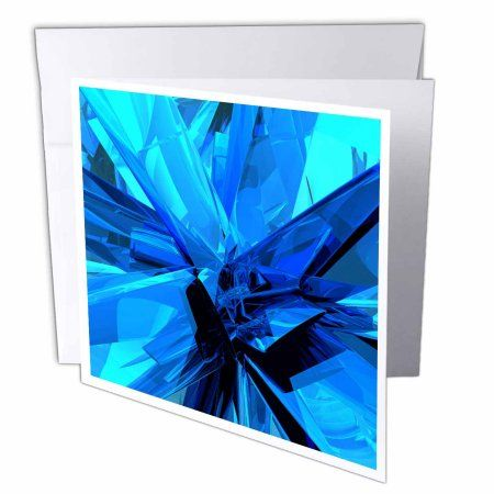 3dRose Blue Glass abstract fractal digital work of reflecting blue glass and metal surfaces, Greeting Cards, 6 x 6 inches, set of 6
