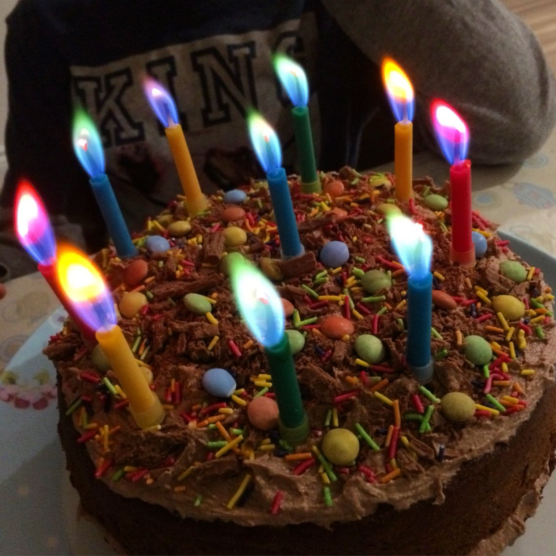 Birthday cake with coloured candles!