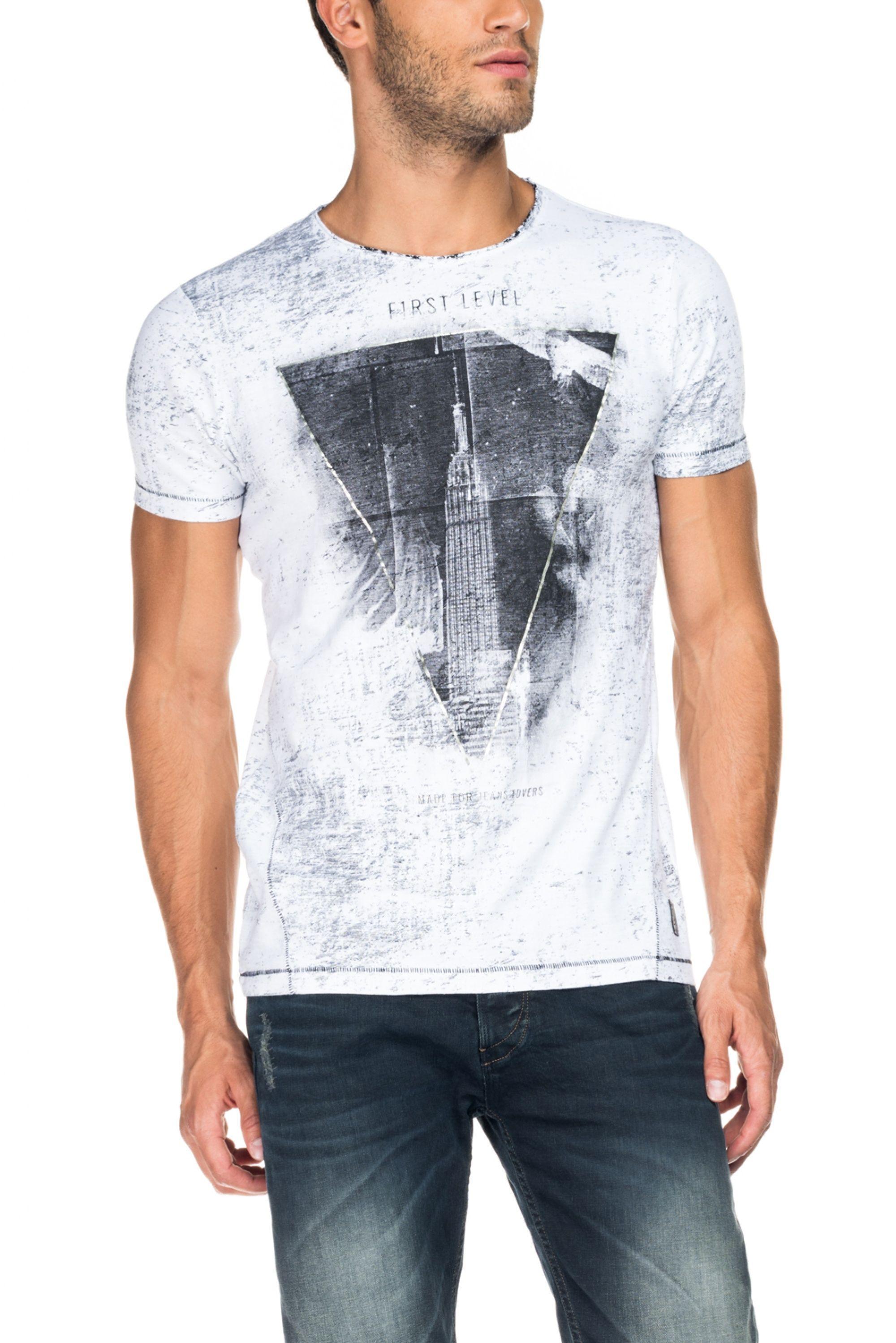 Frontal Tingimento T Shirt Level Gráfico Allover 1st 115704 Com E ZnxOFavwqH