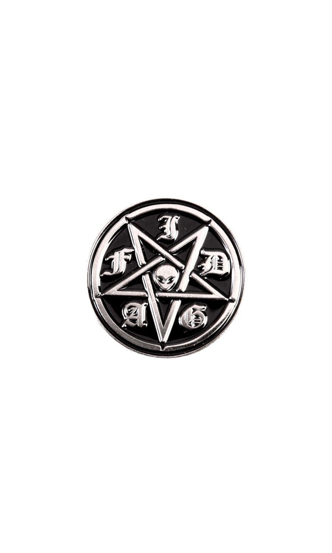 IDGAF Pin Badge #disturbiaclothing disturbia metal silver alien goth occult grunge alternative punk