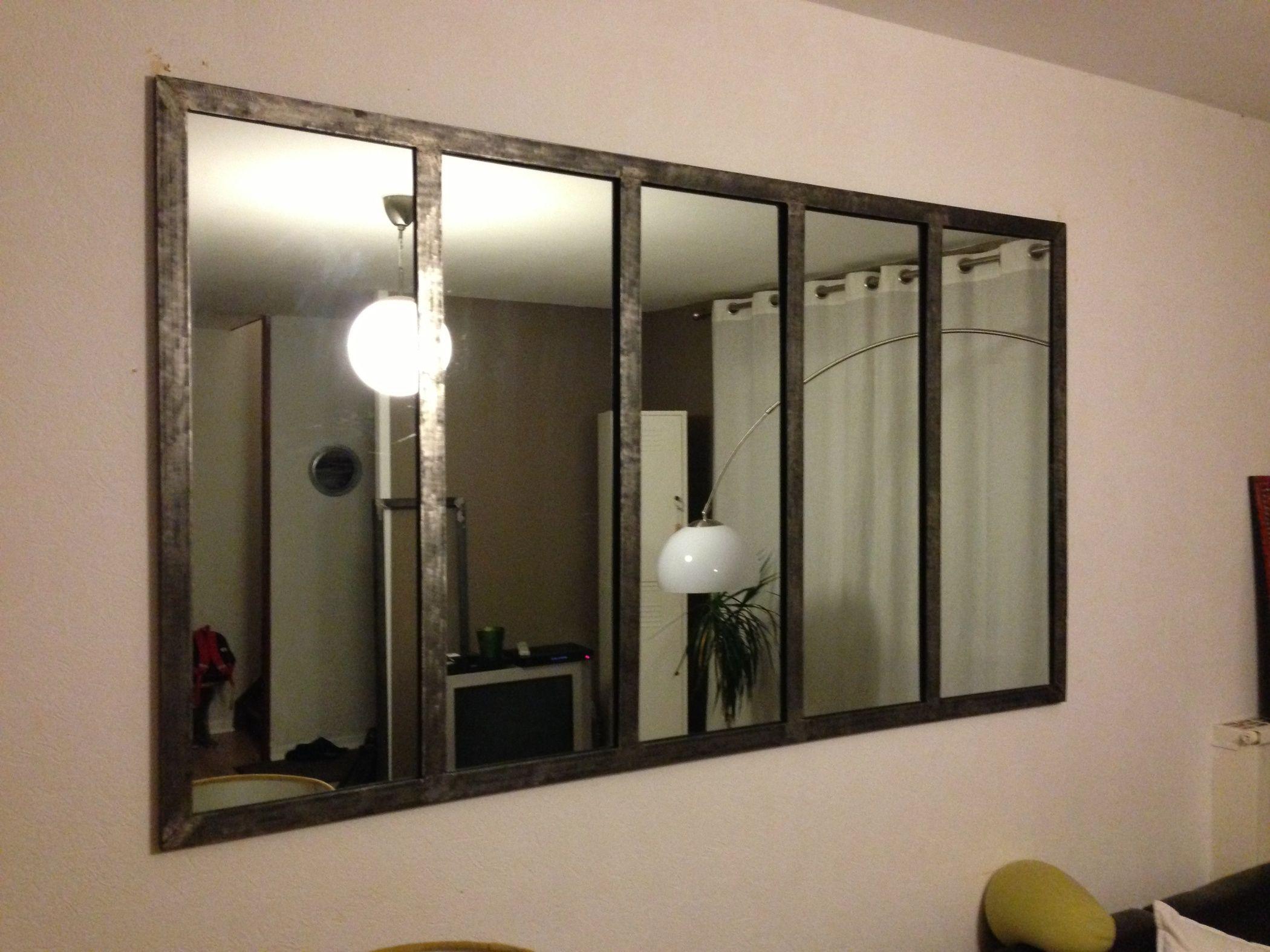 miroir style fen tre d 39 atelier d co pinterest style industriel miroirs et industriel. Black Bedroom Furniture Sets. Home Design Ideas