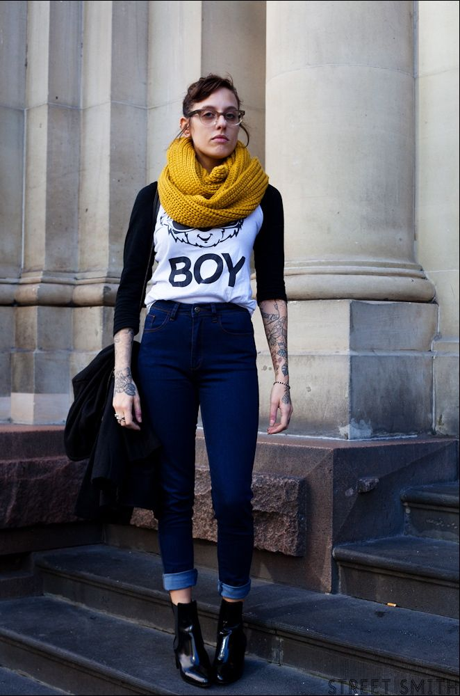 Bliss looking bonkers cool with her Bleeker St top, FAT scarf and Acne boots in Melbourne. #LizMcLeish