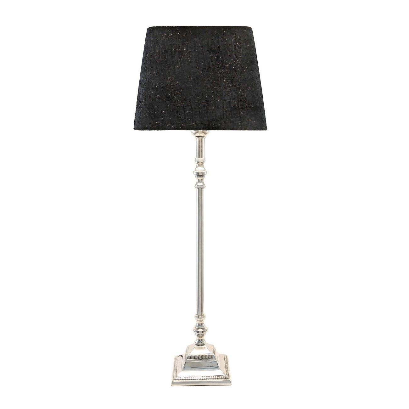 Shiny Nickel Tall Candlestick Table Lamp Base (With images