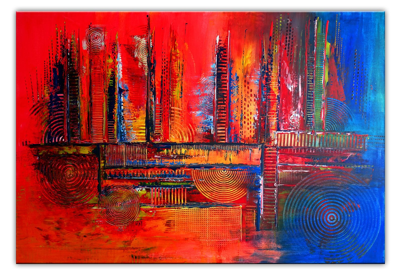 Rote Nova Xxl Abstrakte Malerei Wandbild Rot Blau Bunt Abstrakte Malerei Abstrakt Abstraktes Gemälde