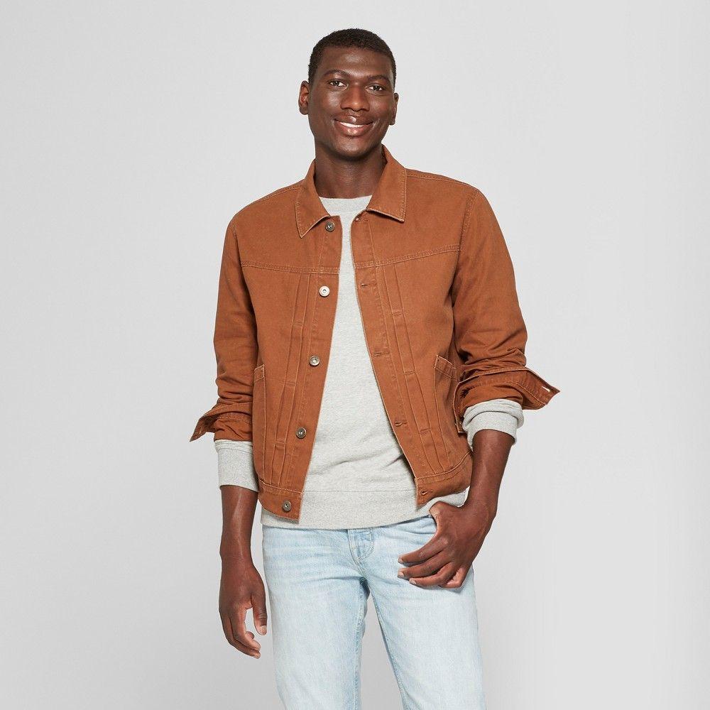 Men S Trucker Jean Jacket Goodfellow Co Brown 2xl Denim Jacket Men Coloured Denim Jacket Mens Puffer Jacket [ jpg ]