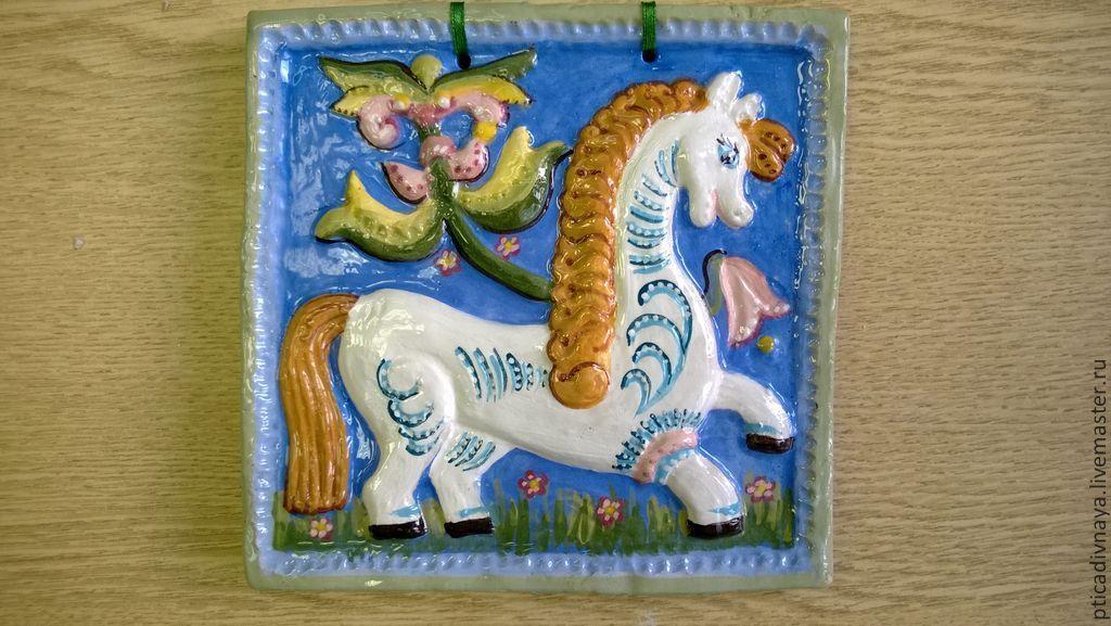 """Купить Изразец """" Белый конь"""" - изразец, Керамика, керамика ручной работы, конь"""
