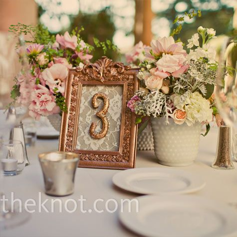 Vintage Table Numbers Made With Spray Painted Frames And Sbook Paper For The Background