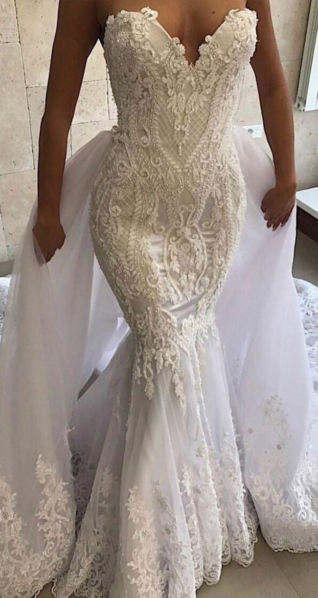 Luxurious Detachable Train Mermaid Wedding Dresses With