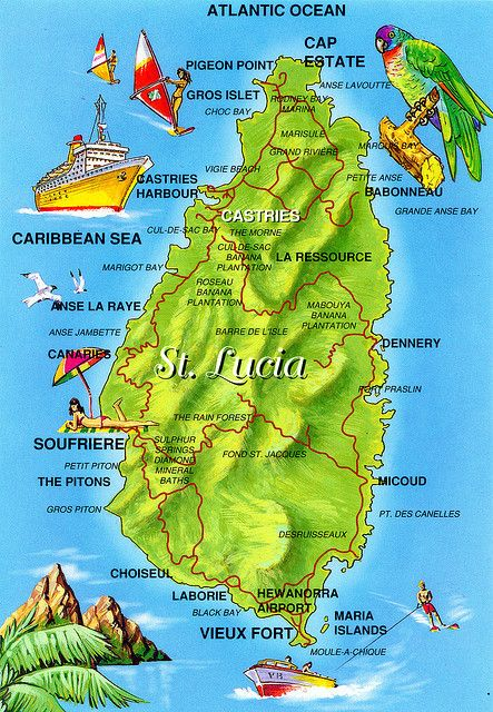 st lucia pitons map Postcard Map Of St Lucia A Photo On Flickriver St Lucia Island St Lucia Hotels St Lucia st lucia pitons map