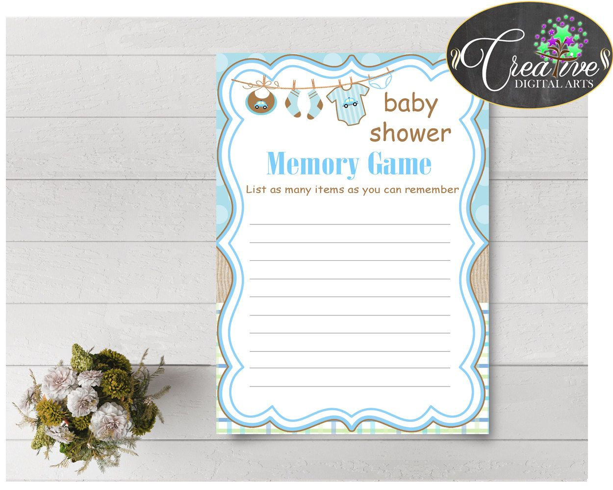 Baby Shower Laundry Baby Shower Clothing Entertain Guests Play MEMORY GAME,  Party Décor, Customizable Files   Bc001
