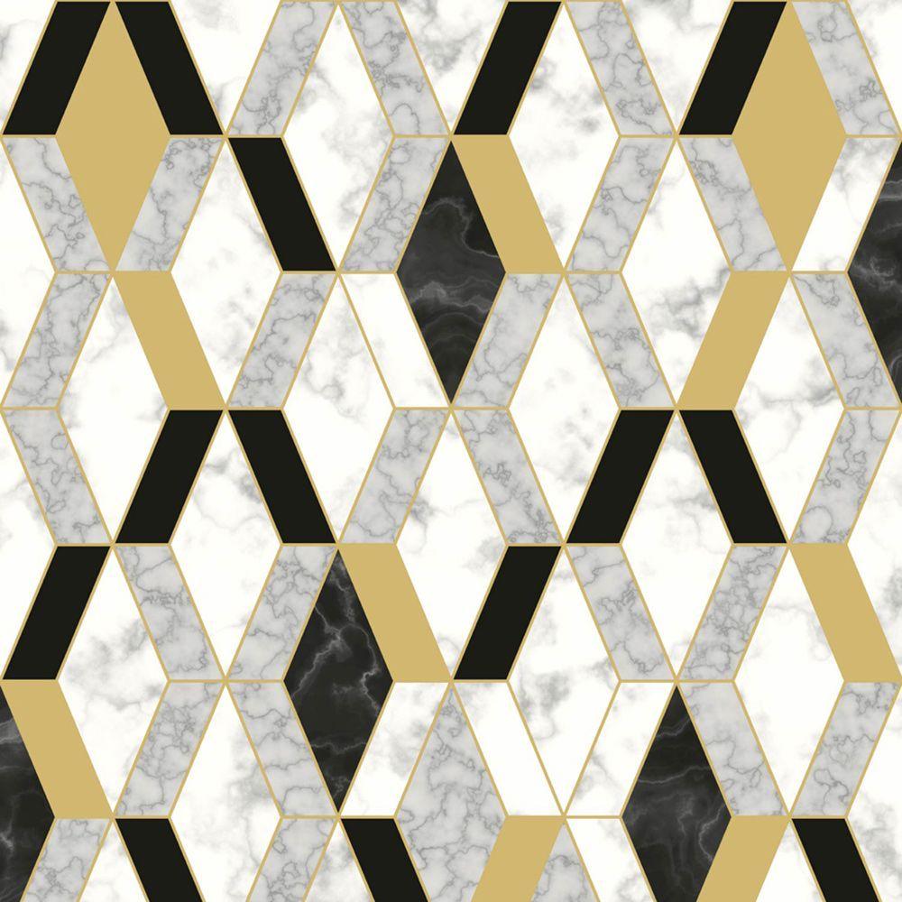 Geometric Marble Wallpaper Gold / Black Muriva L63802