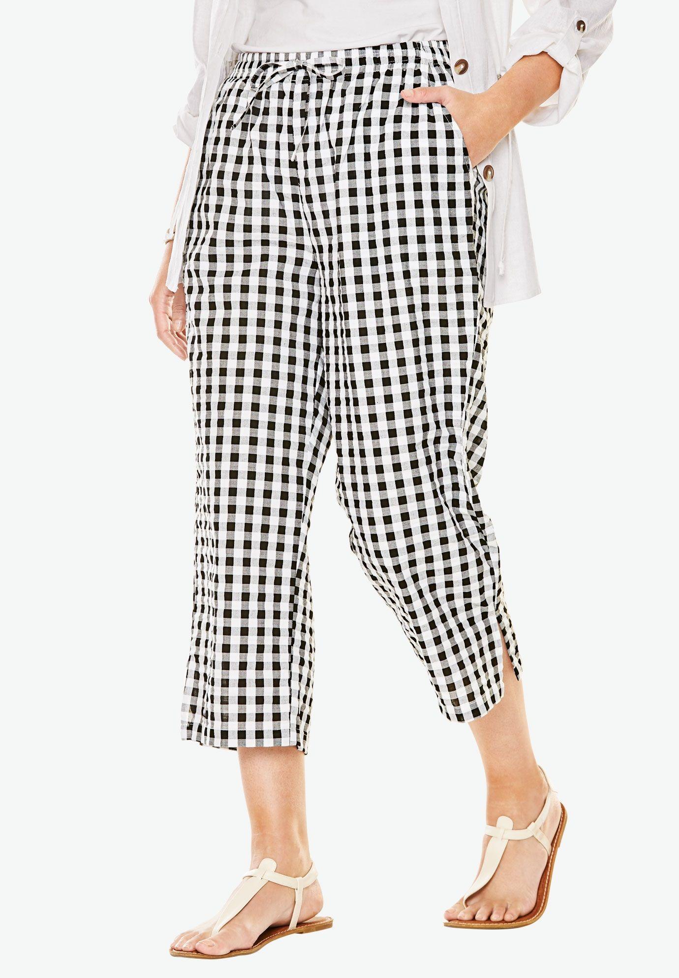 Seersucker Capri Pants Women S Plus Size Clothing Pants For
