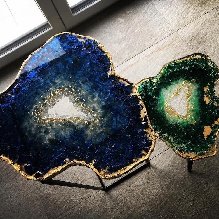 Photo of Mesmerizing Resin Tables Designed to Look Like Giant Glistening Geode Slices