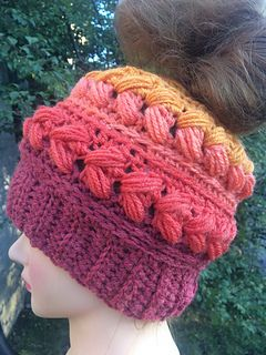 cc85cd7bf1f A gorgeously textured messy bun hat! I used the Caron Cakes for this