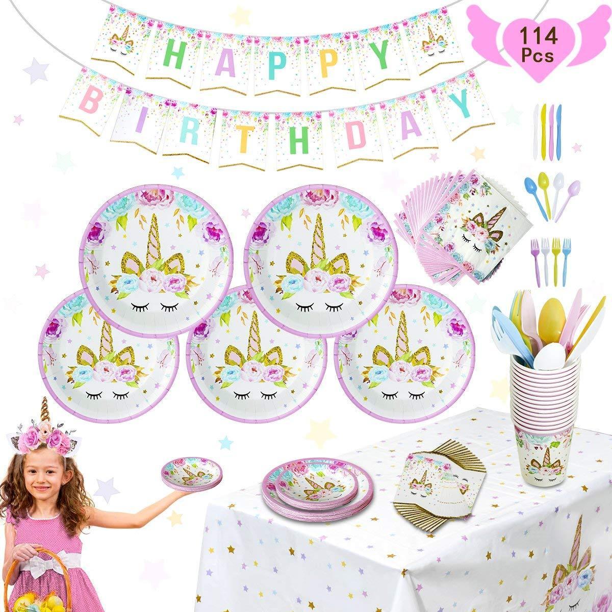 Pink Unicorn Party Supplies Set