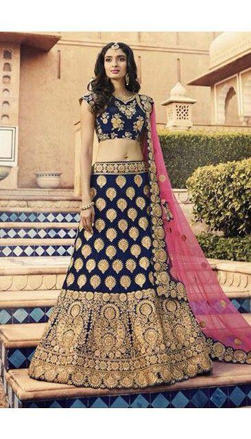 e83174efd9 Blue Velvet Lehenga With Velvet Choli - DMV11817 | Sangeet Dresses ...