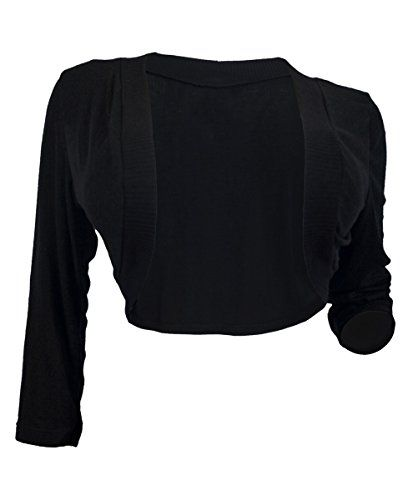 eVogues Womens Black 34 Sleeve Cropped Bolero Shrug 5X -- Read ...