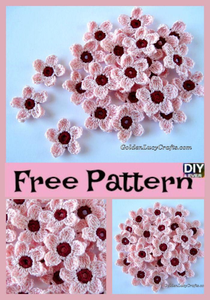 Pretty Crochet Cherry Blossom – Free Pattern | Blumen häkeln, Häkeln ...