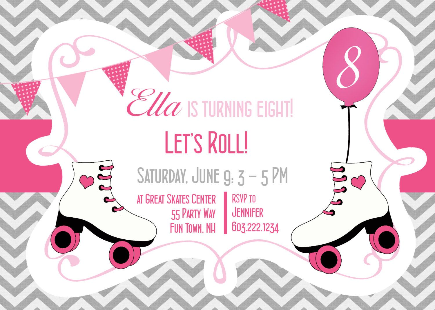Roller skating birthday party invitation printable rollerskating roller skating birthday party invitation chevron roller skating birthday party girl pink gray filmwisefo Gallery