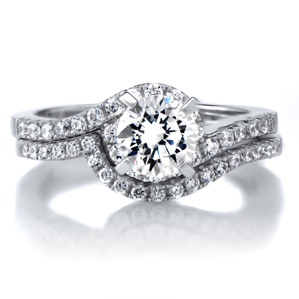 Annabelles 1ct Round Cut CZ Wedding Ring Set The Proposal