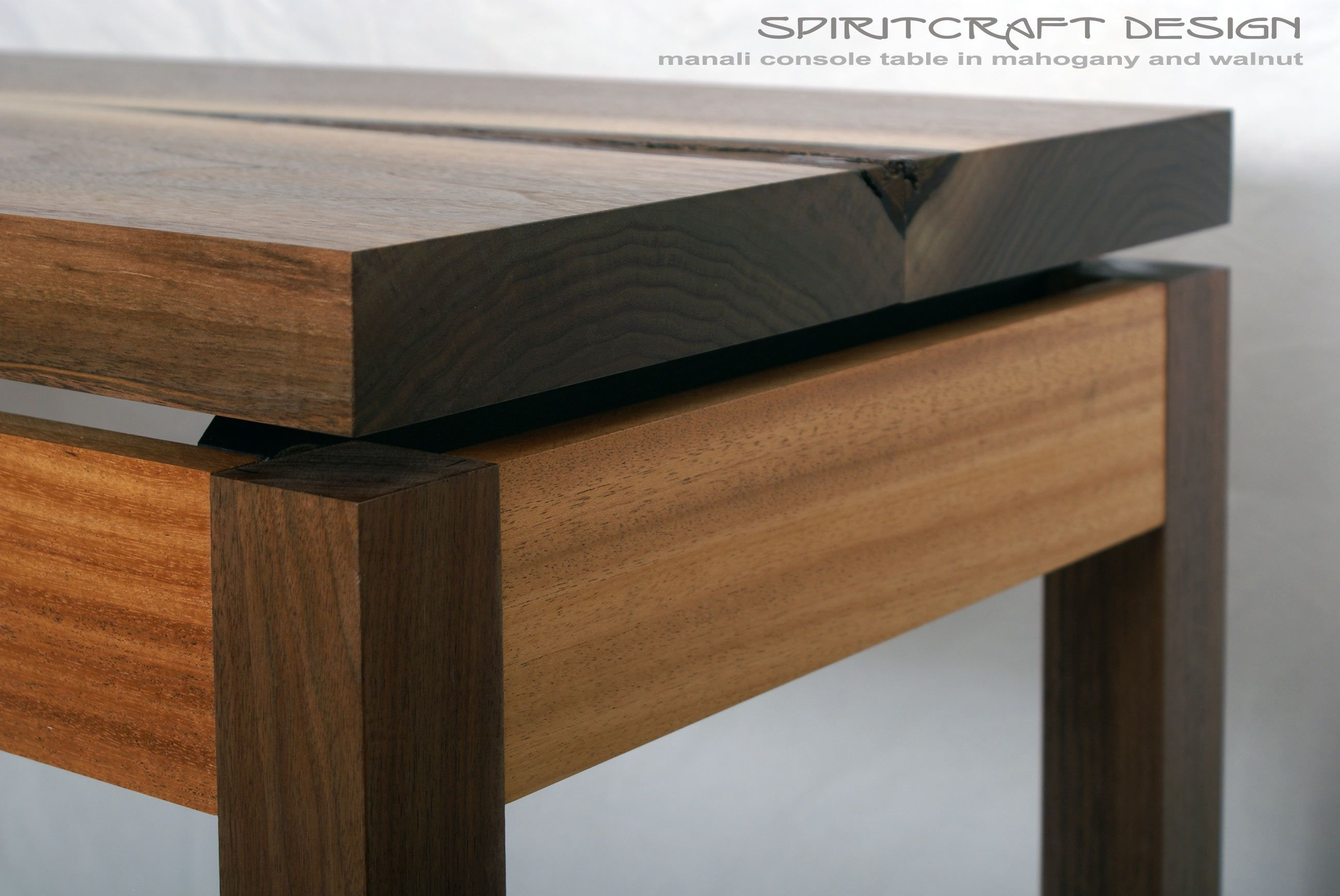 Solid Black Walnut And Mahogany Hall Console Table With Live Edge