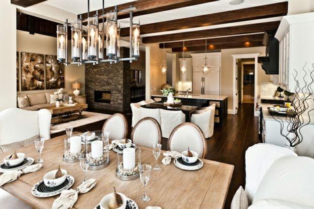 Wohnzimmer einrichten Holzbalkendecke Esszimmer Holztisch wohnen