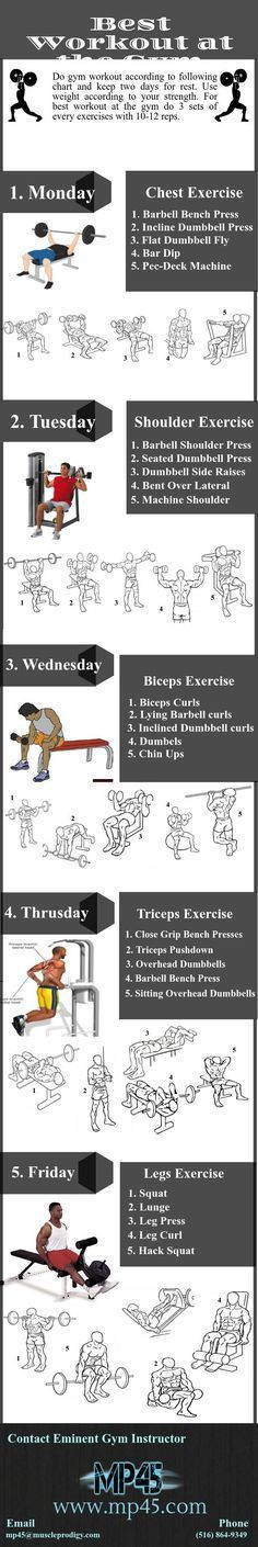 MP45 provide the online training programs, which are the best workout at gym now. Some fitness workout programs are divided into 5 days. We provide you weekly exercise. In this chart, focus on different body muscles with several exercise. Complete every exercise with 3 sets. Try to do minimum 10-12 raps for every exercise during workout. Visit http://www.mp45.com for more information you can contact our eminent gym instructors. They will suggest you best workout at the gym.