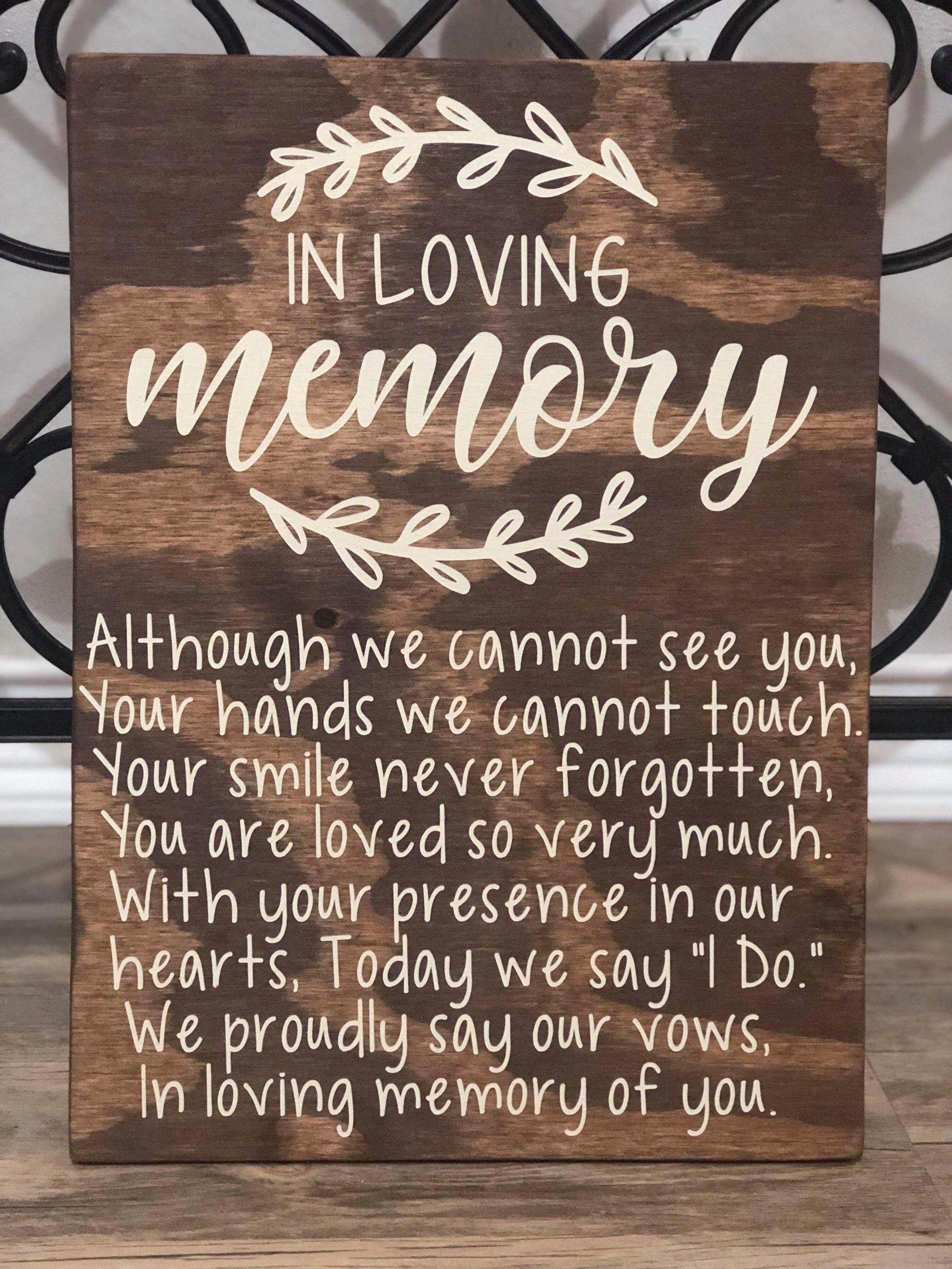 In Loving Memory Wedding Sign - Memorial Table Wedding Sign - Rustic Wedding Sign -   18 wedding Games for money ideas