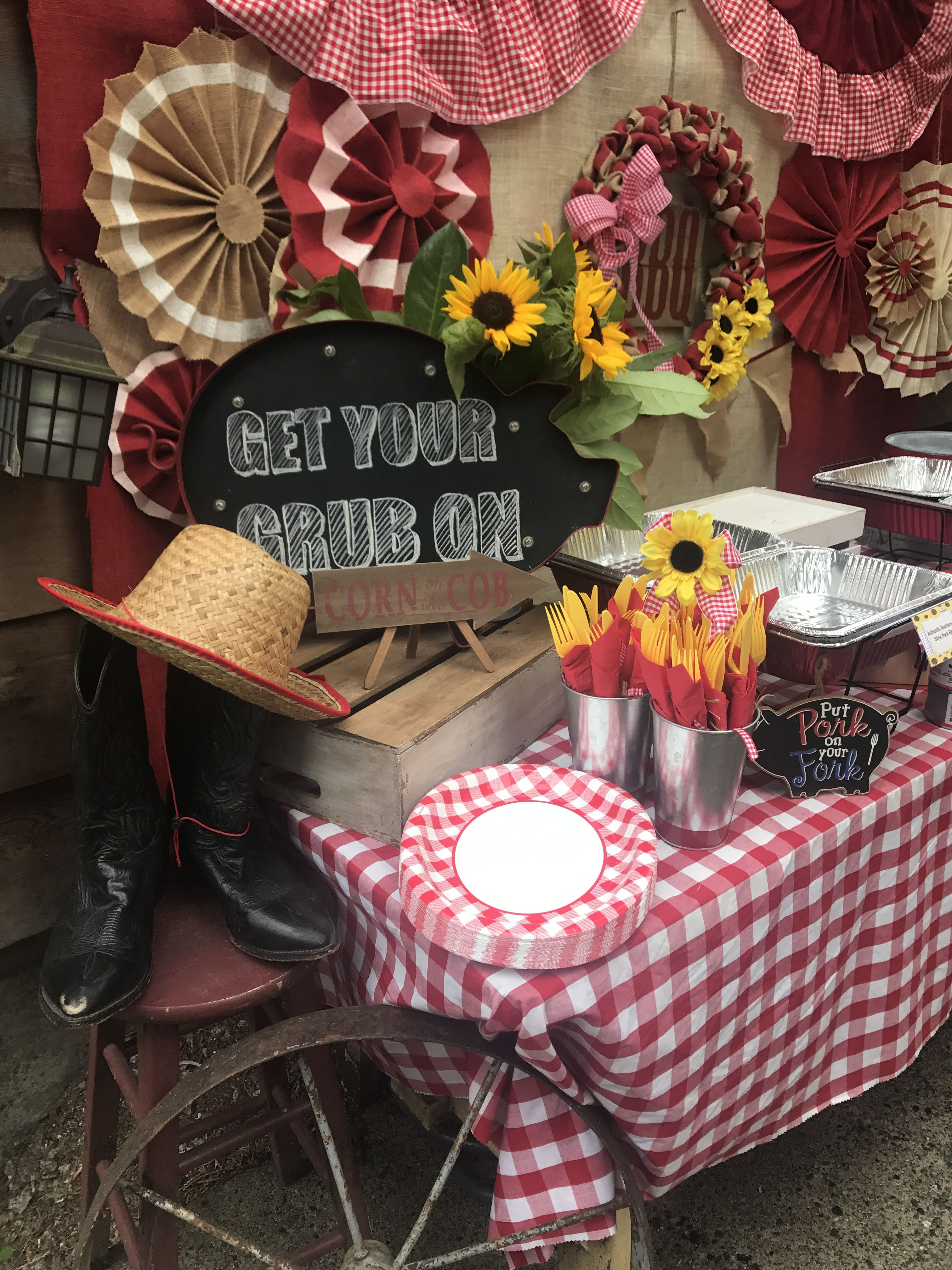 Southern Bbq Food Table Decor Cowboy Boots Hat And