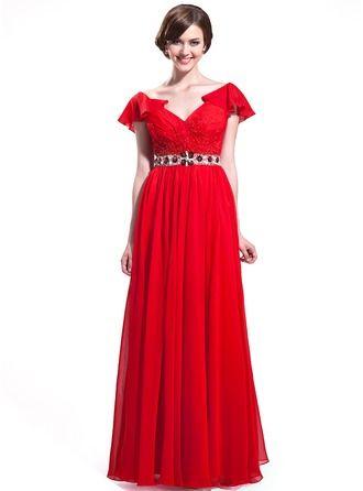 A-Line/Princess V-neck Floor-Length Chiffon Prom Dress With Beading Sequins Cascading Ruffles