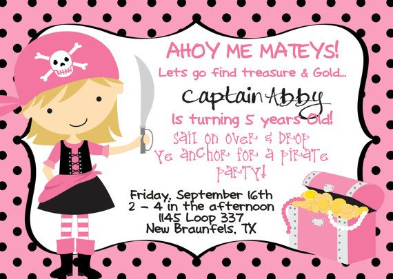 Pink And Black Birthday Invitation With Pirate Girl Chest Via Etsy
