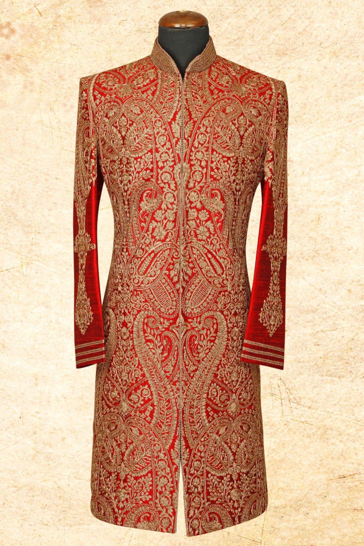 Red graceful raw silk sherwani with bandhgalaiw wedding